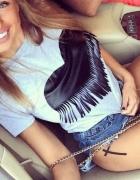 Seksowna bluzka tshirt serce frędzle modna 2016