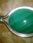 piekny stary malachit w srebrze