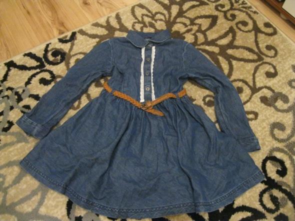 sukienka jeans NEXT 110 z paskiem granatowa
