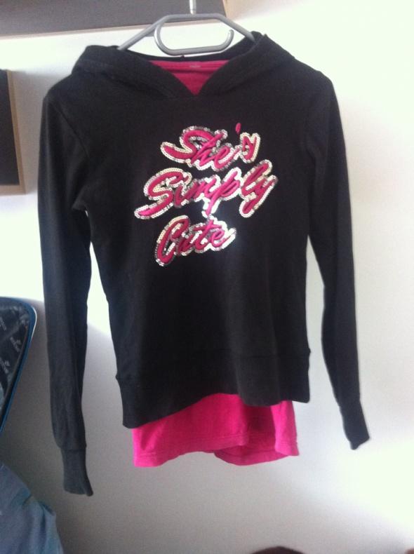 Czarna bluza cekiny różowy napis kapturem s 36 34...
