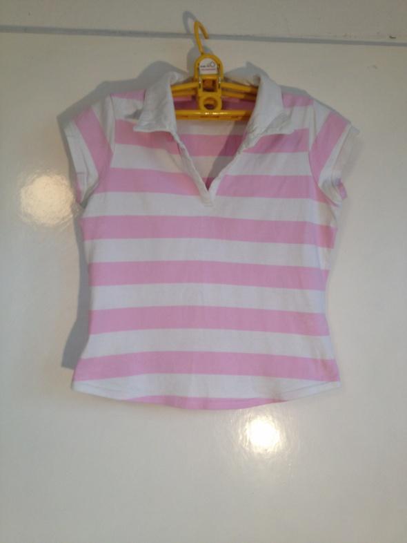Cukierkowy top tshirt koszulka paski różowe białe Next S M L 36 38 40 polo