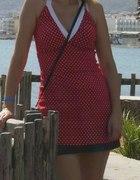 Tunika czerwona w grochy pin up wiązana na szyi 38