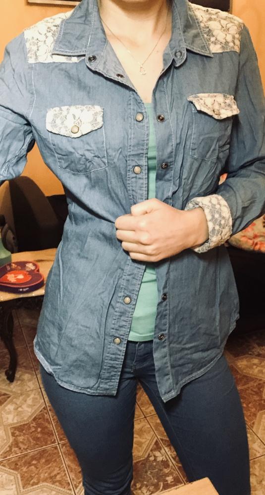 Jeansowa koszula z haftem M