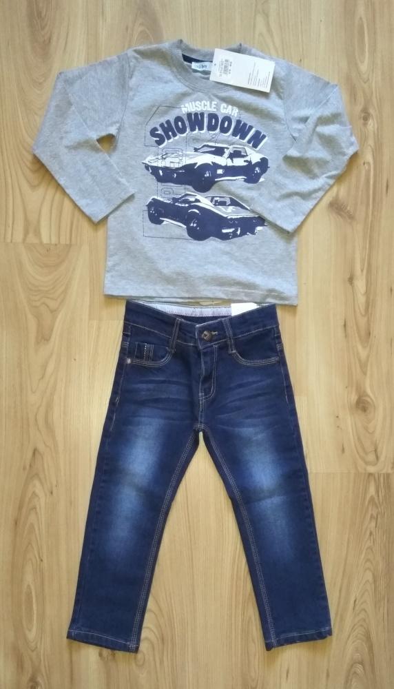Bluzka z długim rękawem i jeansy chłopięce 104
