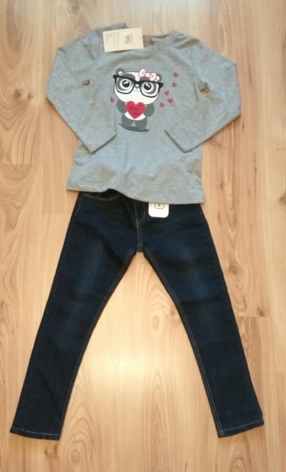 Szara bluzka z długim rękawem panda i spodnie jean