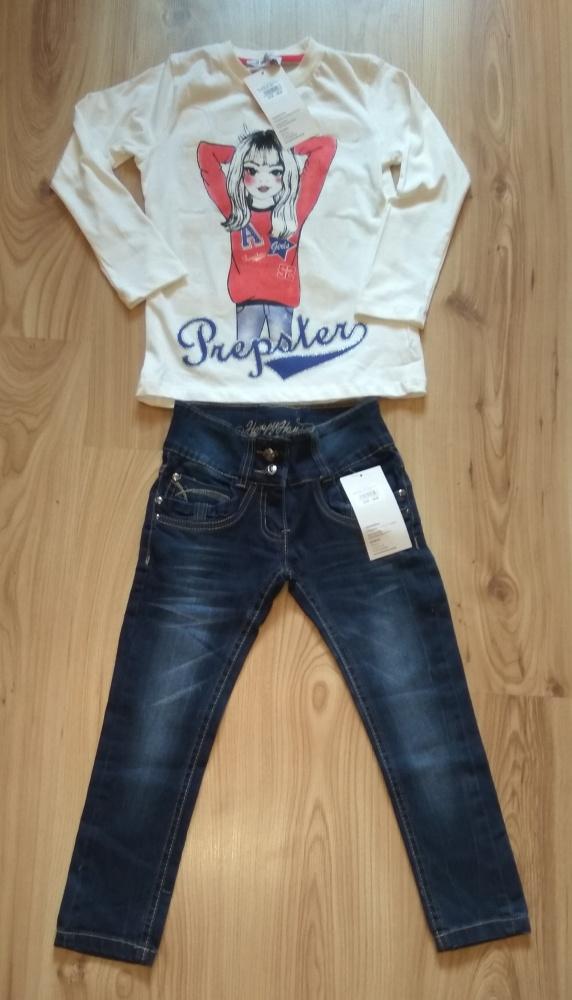 Nowy komplet biała bluzka i spodnie jeansy 110 116