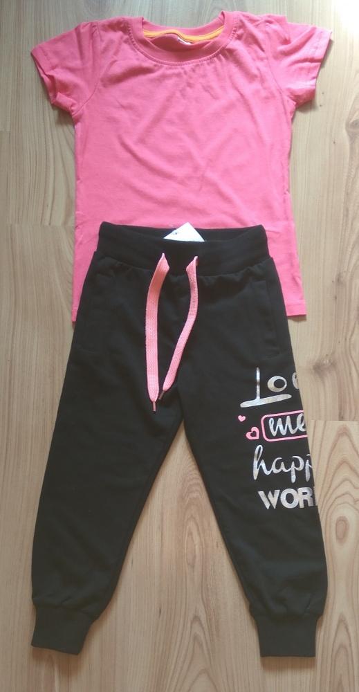 Komplet rózówa bluzka i czarne spodnie dresowe 116