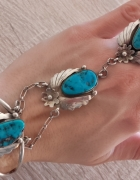 Avajo srebrna btansoleta pierścionkiem z turkusami