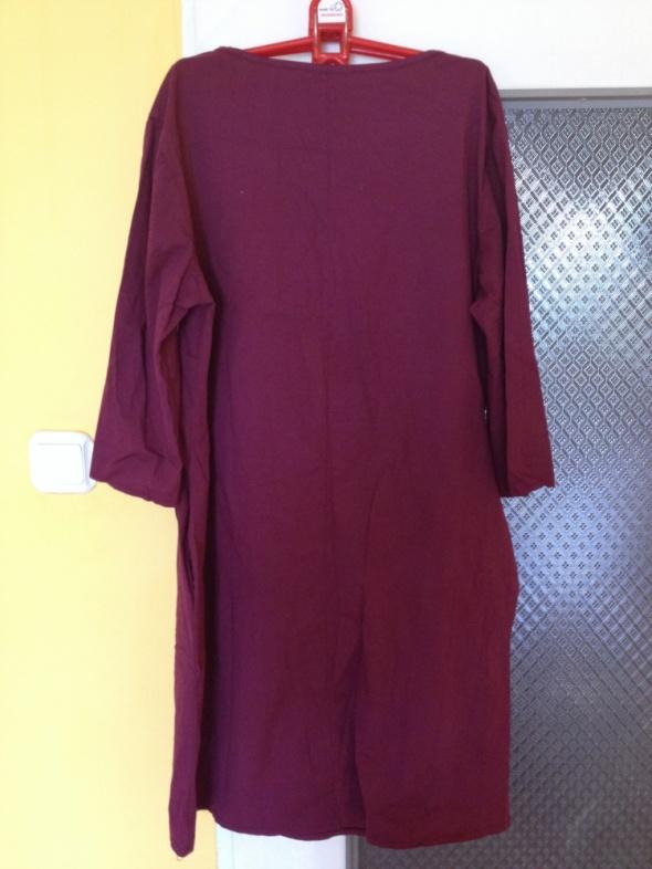 Sukienka fioletowa ciążowa dla ciężarnych z kiesze