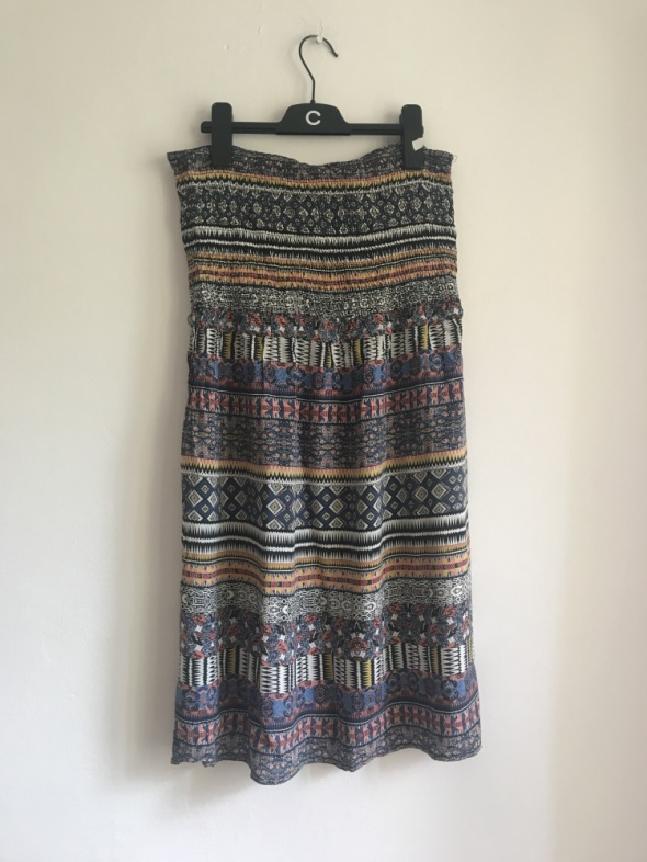 Letnia sukienka mini Camaieu print aztec rozkloszowana S M...