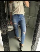 Jeansy spodnie New Look Jenna S M przetarcia wysoki stan...