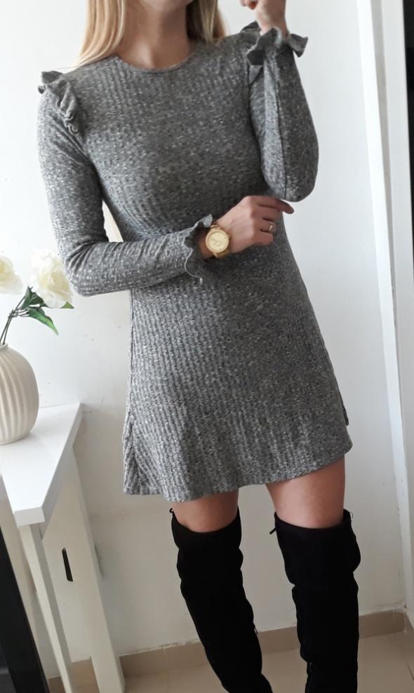 New look sukienka szary melanż prazek M