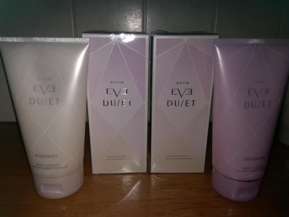 Zestaw Eve Duet wody Radiant i Sensue oraz balsam