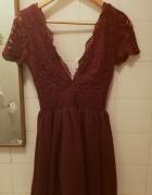 burgundowa sukienka dekolt v koronkowa club L asos 34 XS...