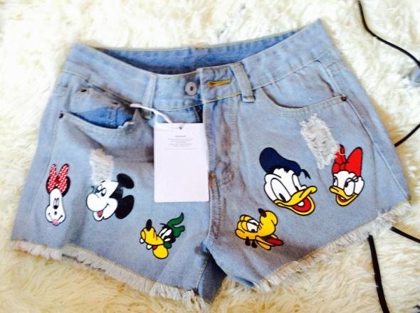 Jeansowe spodenki szorty mickey Disney
