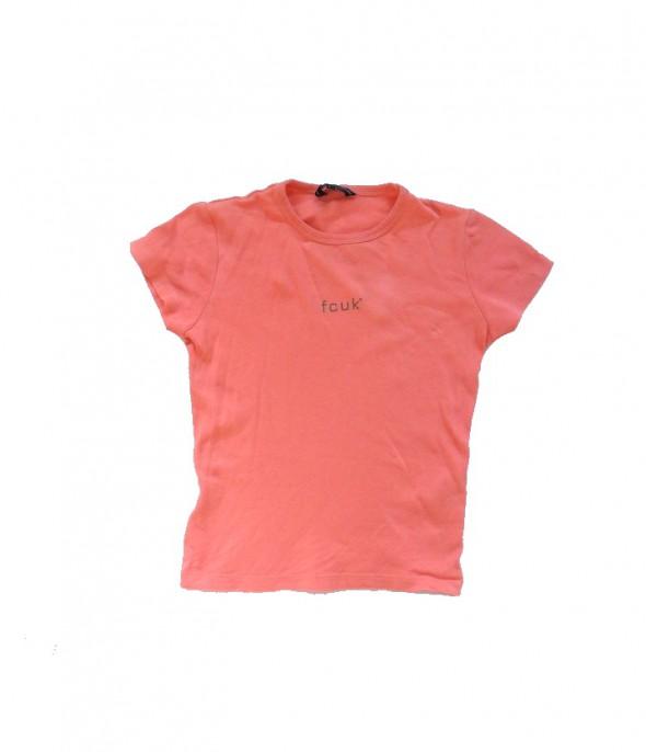 Prosta bawełniana bluzka kolor łososiowy 140