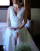 Suknia biała boho koronka tren...