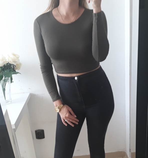 Prettylittlething crop top khaki S