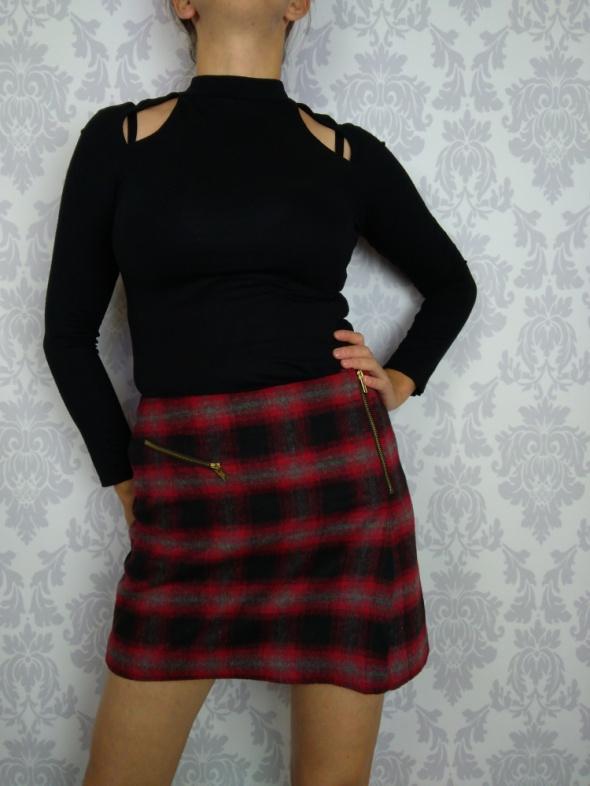 Spódnice Krótka mini wełniana spódnica w kwratkę z zamkami TU