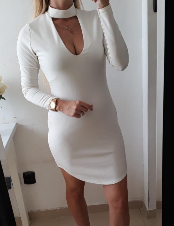 Missguided sukienka biała dopasowana choker M
