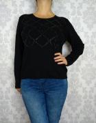 Czarny wełniany sweter z wełną koraliki Marks and Spencer