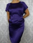 Fioletowa elegancka sukienka przed kolano FF
