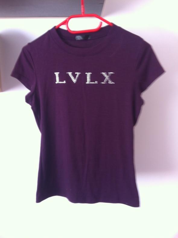 Tshirt fioletowy śliwkowy koszulka LVLX S M 34 XS...