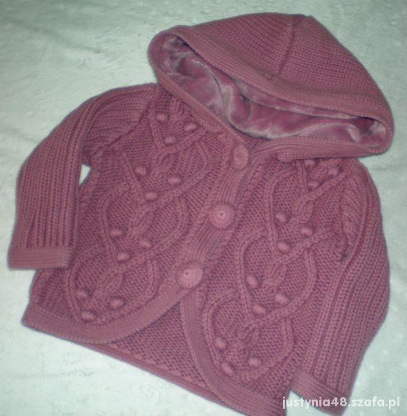 INDIGO ciepły sweterek z kapturem lawenda Boski
