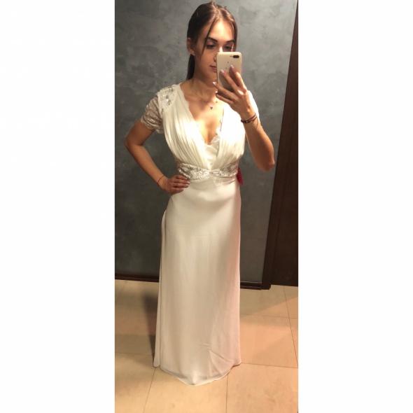 NOWA Suknia sukienka ślubna długa maxi koronkowa zdobiona Amelia Rose M 38