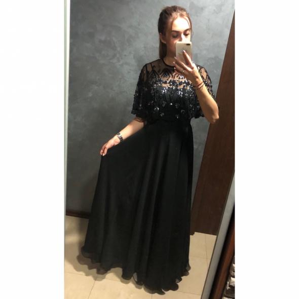 NOWA Sukienka maxi suknia długa szyfonowa zdobiona kamienie S 36 Asos