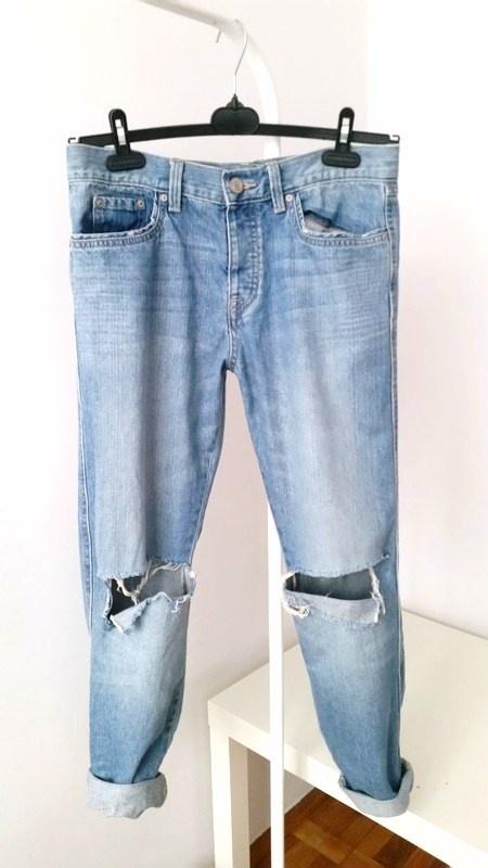 Spodnie jeansowe z dziurami na kolanach Cubus bawelniane denim ...