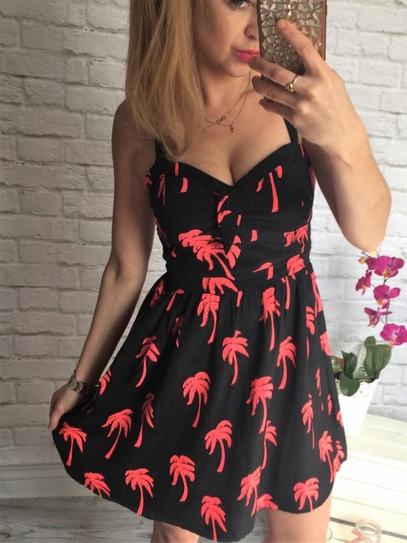 czarna sukienka neonowe palmy tally...