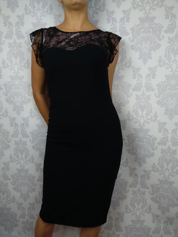 Czarna elegancka sukienka midi pas wyszczuplający George