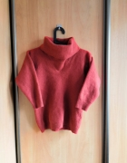 Wełniany sweter S M pomarańczowy rudy golf lejący...