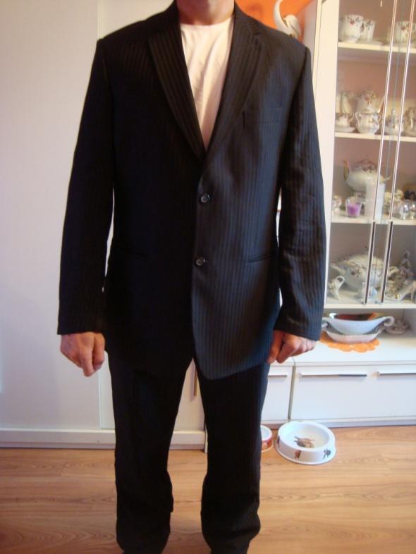 Nowy garnitur czarny w prazki 182cm