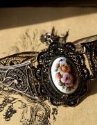 srebrna bransoletka filigran porcelana emalia finift...