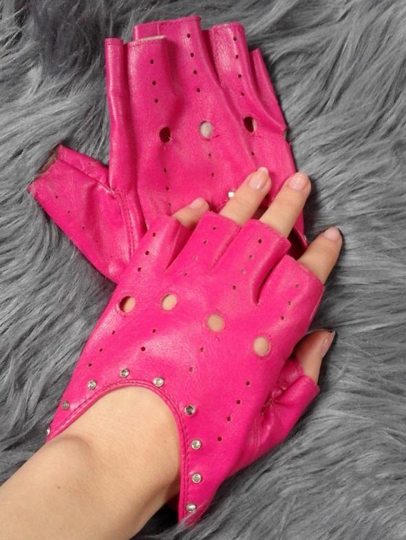 Różowe rękawiczki bez palców mitenki z ekoskóry