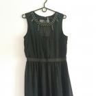 Asymetryczna Czarna sukienka z siateczką i dżetami