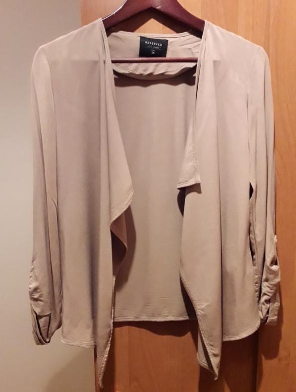 Reserved Beżowa kamelowa narzutka koszula...