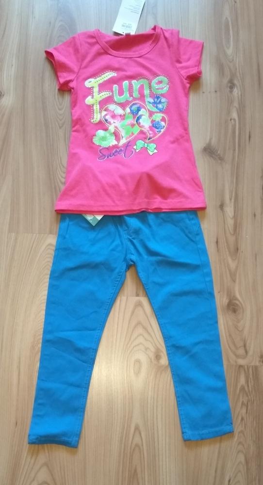 Nowy dziewczęcy komplecik różowa bluzka i niebiesk