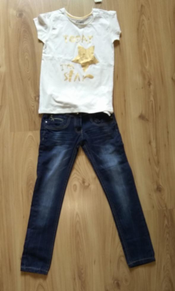 Bluzka z krótkim rękawem i jeansy 134 140