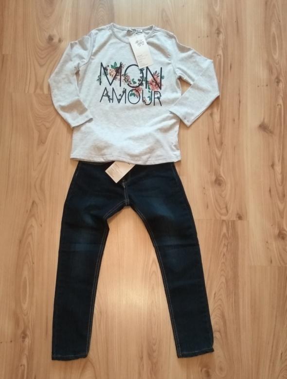 Nowy komplet szara bluzka z długim rękawem i jeans