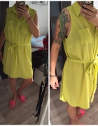 Szmijzerka sukienka limonkowa limonka żółta oversize wiazana w pasie