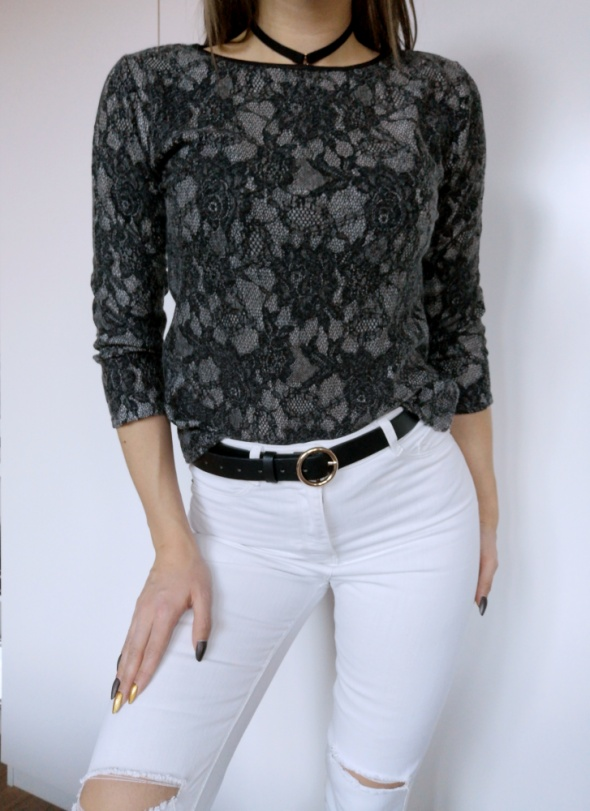 czarna szara koronkowa bluzka 36 s elegancka