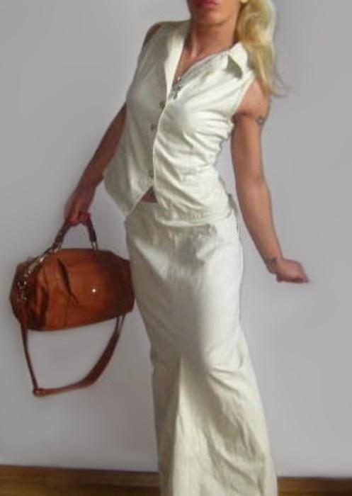 sukienka maxi beżowa komplet S M