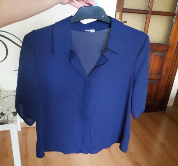 Granatowa koszula Asos na guziki krótki rękaw mgiełka elegancka...