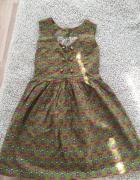 Vintage retro sukienka marszczona rozkloszowana zielona we wzory 36