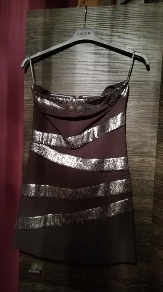 sexi garfitowo srebrna krótka sukienka