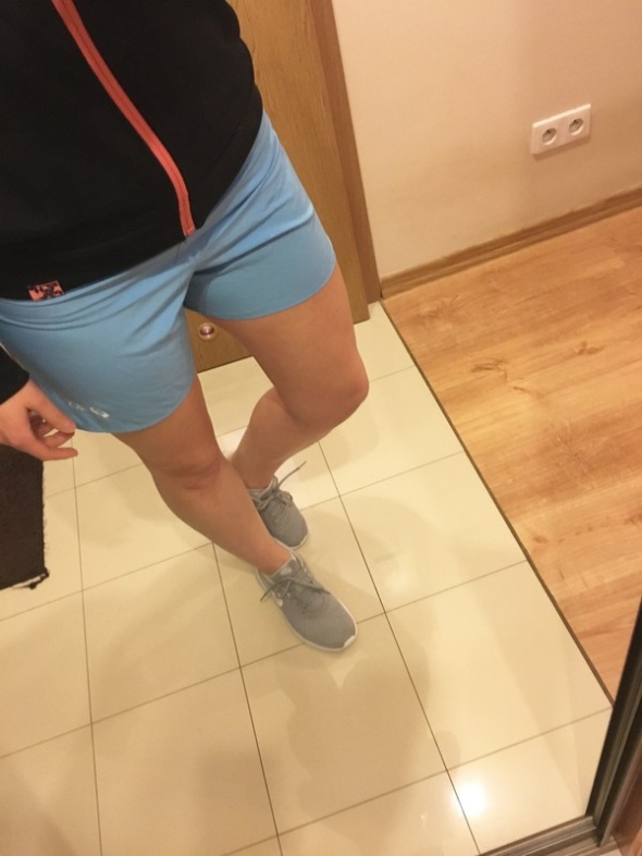 Asics shorty 2in1 fitness jogging baby blue S...