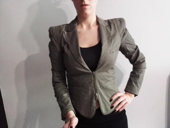 marynarka power shoulders bufki zip khaki 38 M